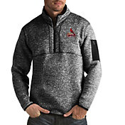 Antigua Men's St. Louis Cardinals Fortune Black Half-Zip Pullover