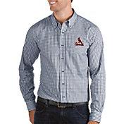 Antigua Men's St. Louis Cardinals Structure Button-Up Navy Long Sleeve Shirt