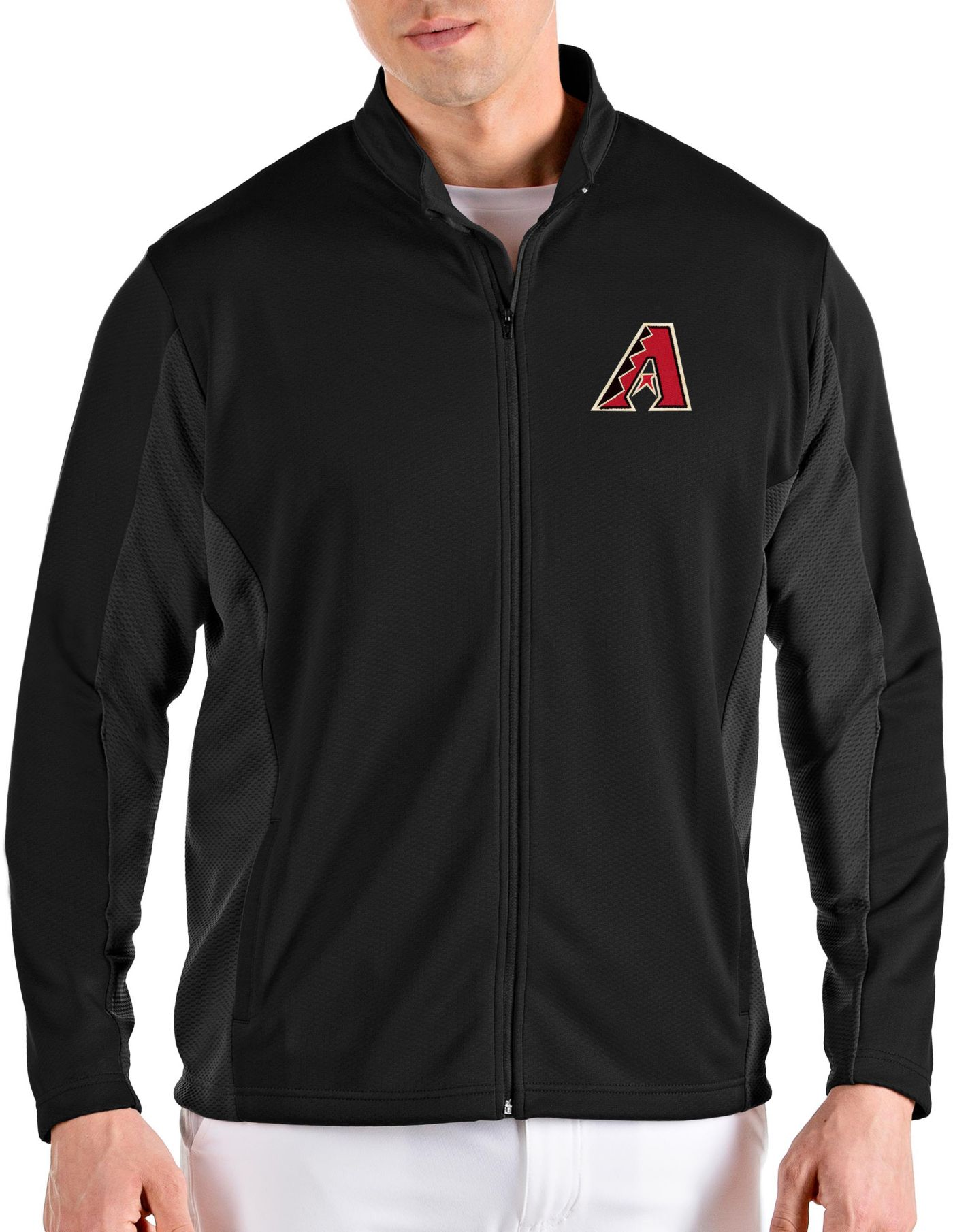 Antigua Men's Arizona Diamondbacks Black Passage Full-Zip Jacket