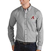 Antigua Men's Arizona Diamondbacks Structure Black Long Sleeve Button Down Shirt