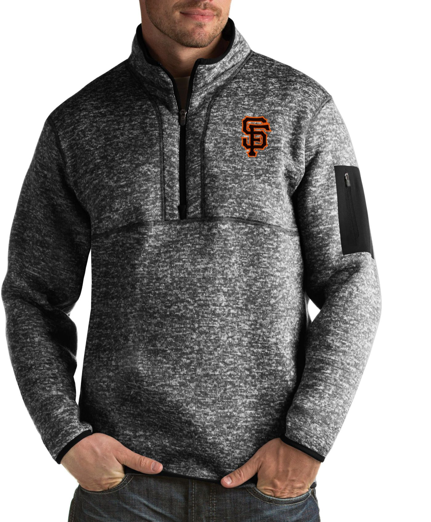 Antigua Men's San Francisco Giants Fortune Black Half-Zip Pullover