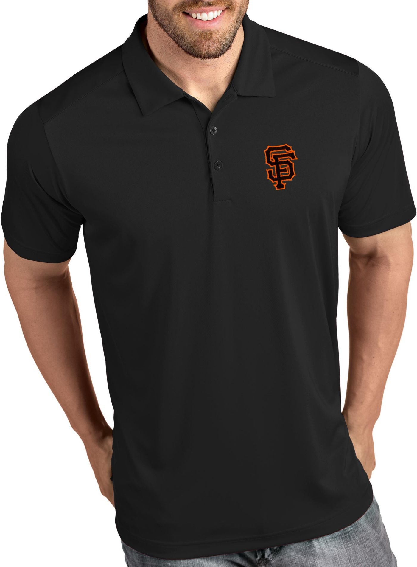 Antigua Men's San Francisco Giants Tribute Black Performance  Polo