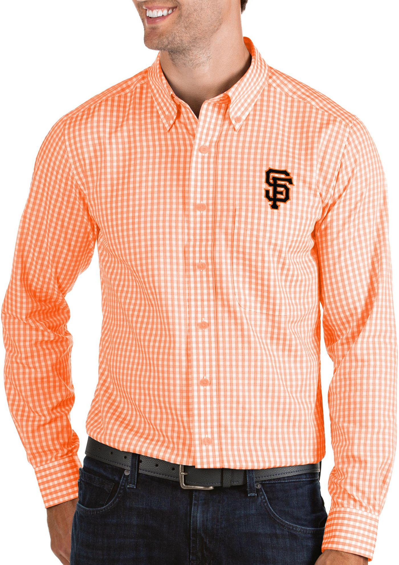 Antigua Men's San Francisco Giants Structure Button-Up Orange Long Sleeve Shirt