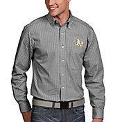 Antigua Men's Oakland Athletics Associate Button-Up Black Long Sleeve Shirt