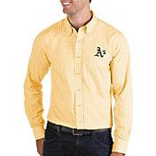 Antigua Men's Oakland Athletics Structure Button-Up Gold Long Sleeve Shirt