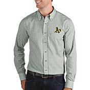 Antigua Men's Oakland Athletics Structure Button-Up Green Long Sleeve Shirt