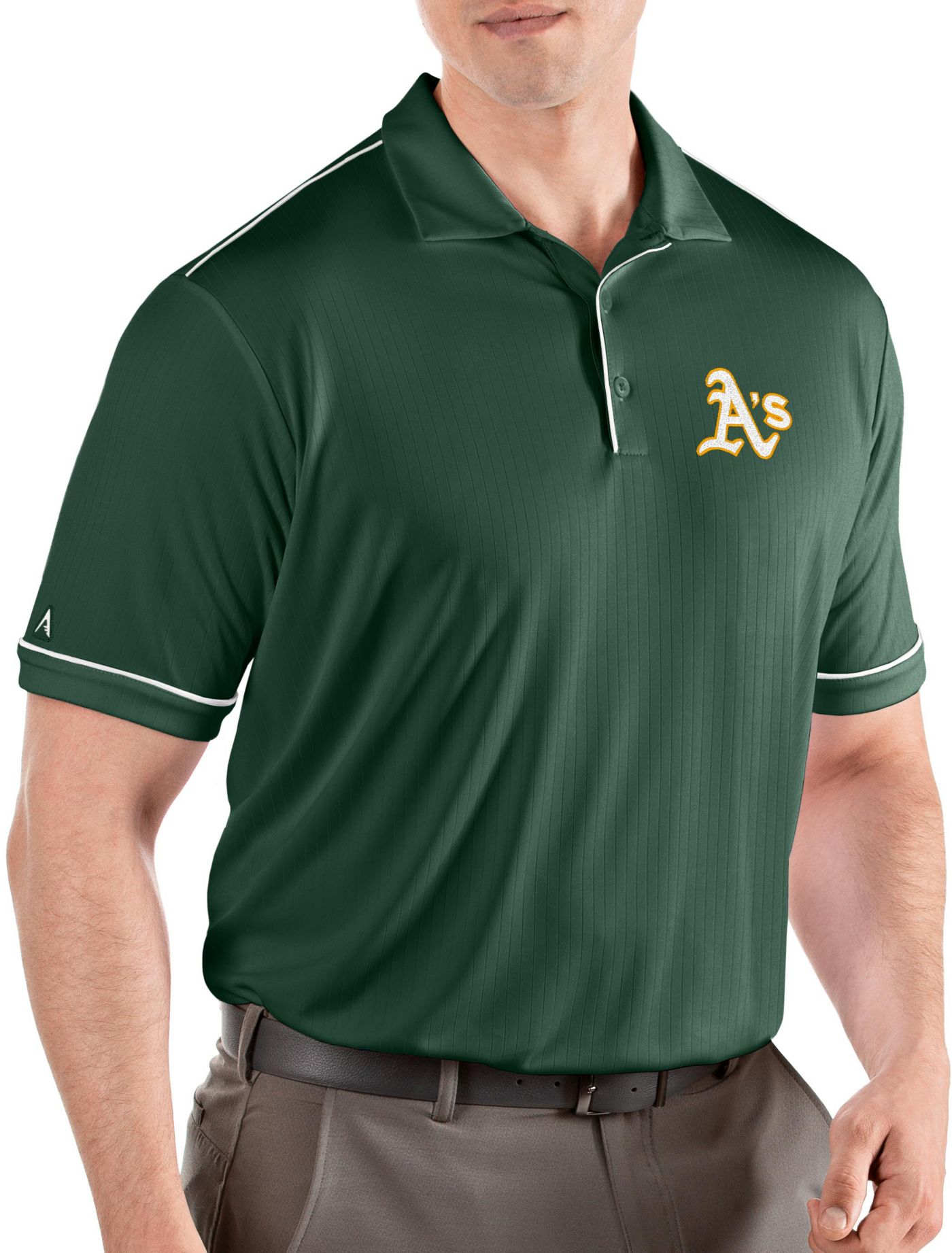 Antigua Men's Oakland Athletics Salute Green Performance Polo