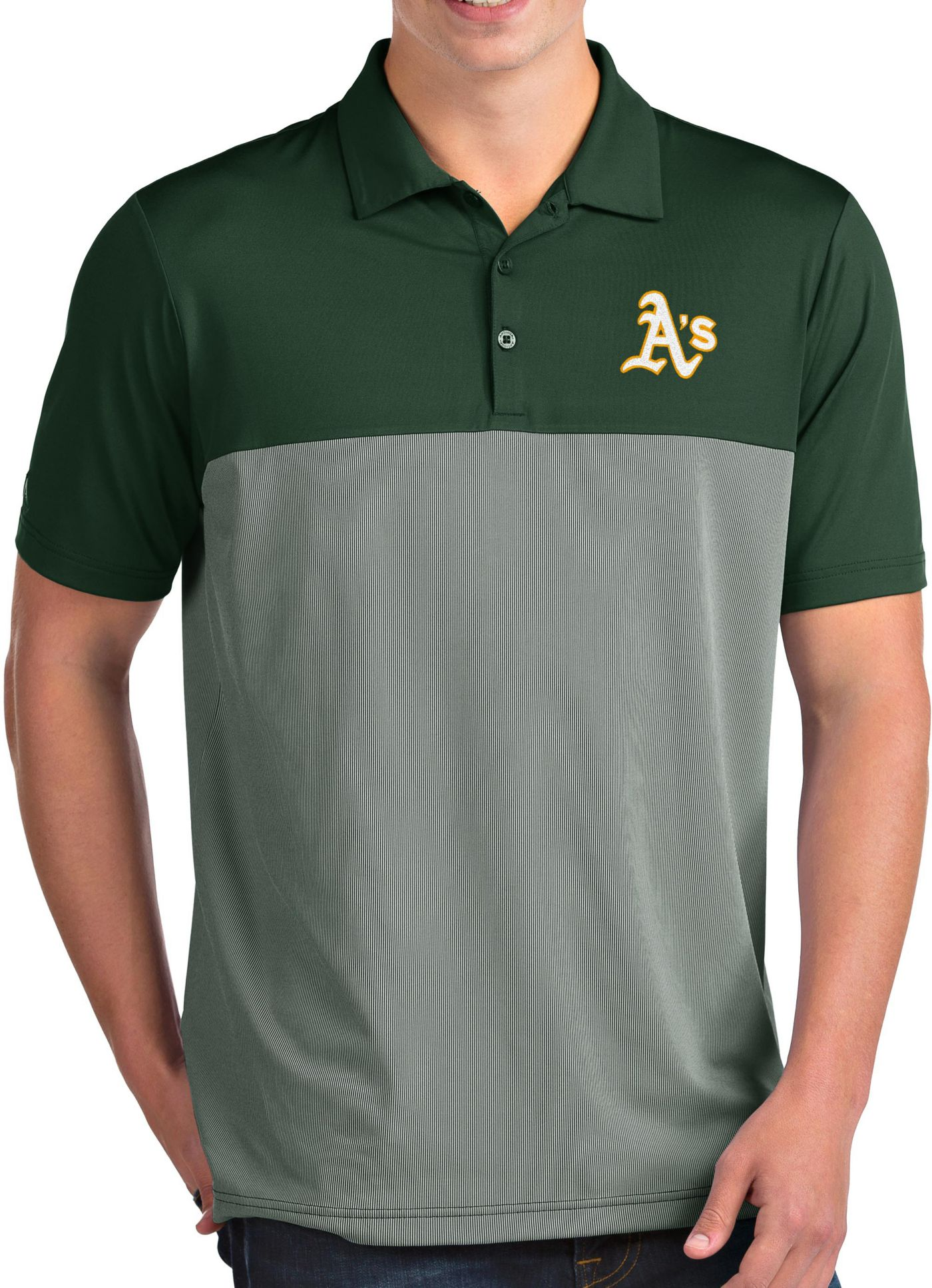 Antigua Men's Oakland Athletics Venture Green Performance Polo
