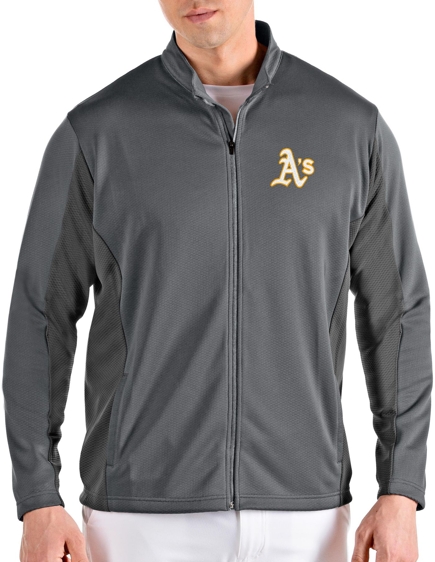 Antigua Men's Oakland Athletics Grey Passage Full-Zip Jacket