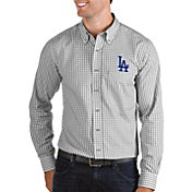 Antigua Men's Los Angeles Dodgers Structure Button-Up Grey Long Sleeve Shirt