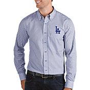 Antigua Men's Los Angeles Dodgers Structure Royal Long Sleeve Button Down Shirt