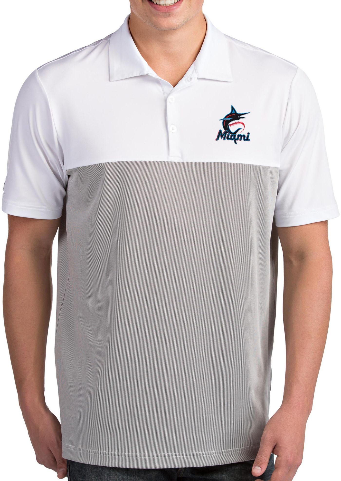 Antigua Men's Miami Marlins Venture White Performance Polo