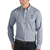 Antigua Men's Seattle Mariners Structure Button-Up Navy Long Sleeve Shirt
