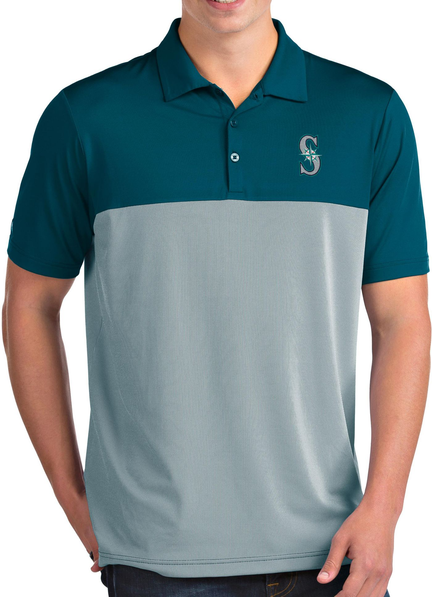 Antigua Men's Seattle Mariners Venture Teal Performance Polo