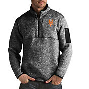 Antigua Men's New York Mets Fortune Black Half-Zip Pullover