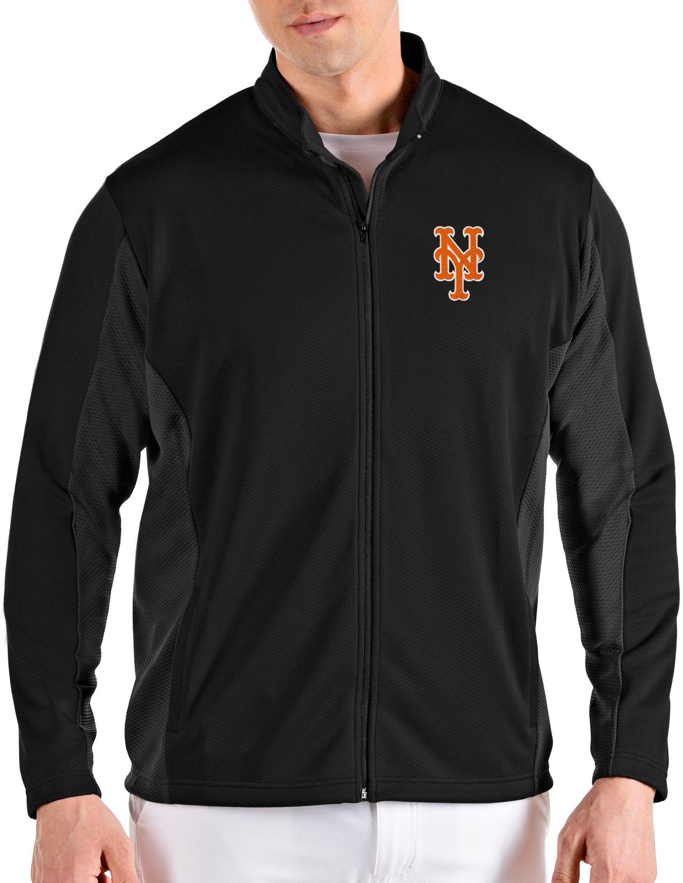 Antigua Men's New York Mets Black Passage Full-Zip Jacket