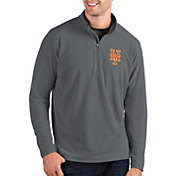 Antigua Men's New York Mets Grey Glacier Quarter-Zip Pullover