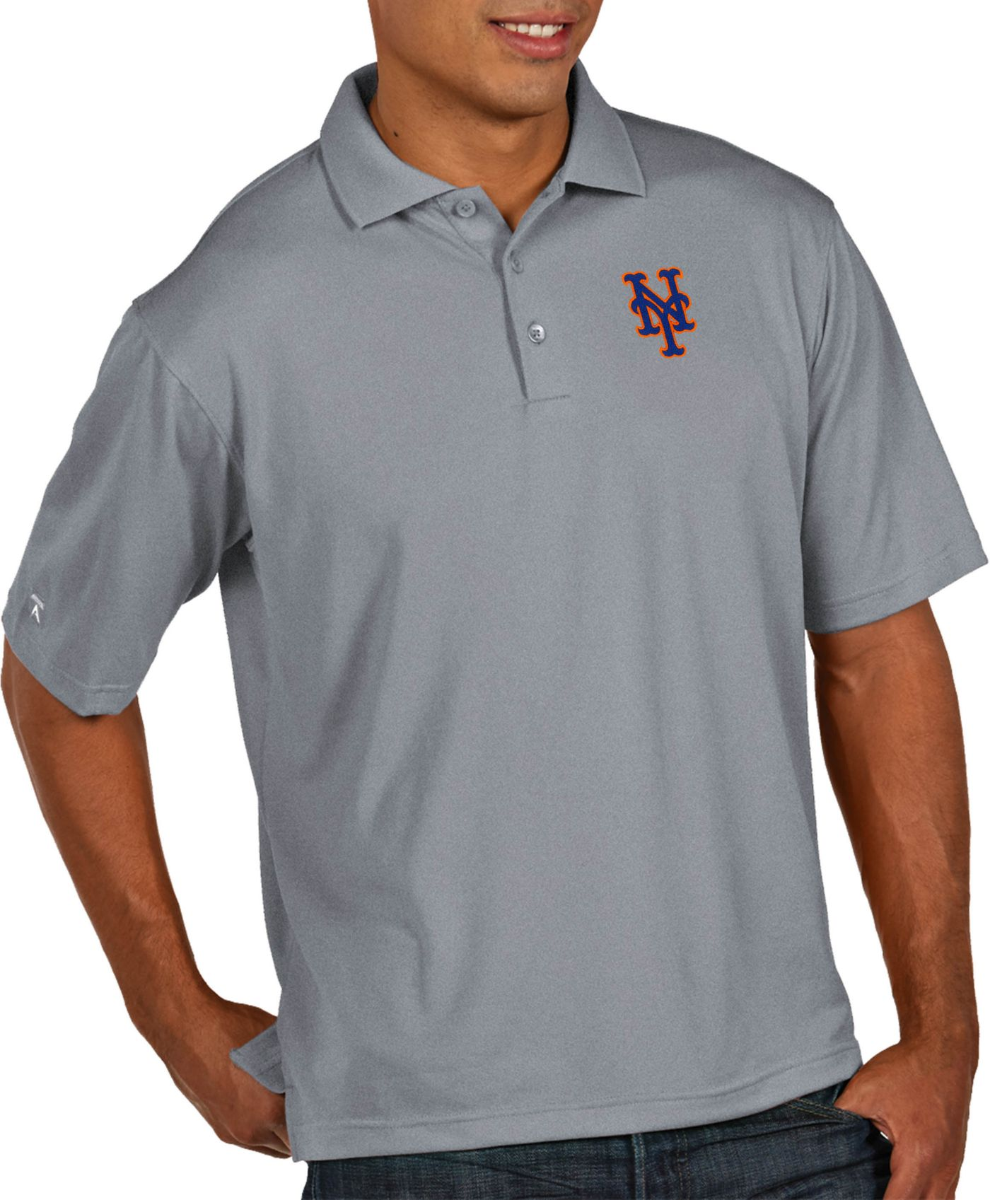 Antigua Men's New York Mets Pique Grey Performance Polo