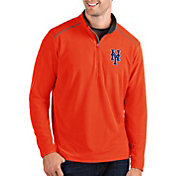 Antigua Men's New York Mets Orange Glacier Quarter-Zip Pullover