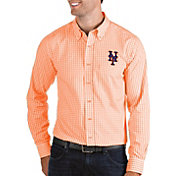 Antigua Men's New York Mets Structure Button-Up Orange Long Sleeve Shirt