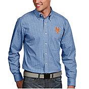 Antigua Men's New York Mets Associate Button-Up Royal Long Sleeve Shirt