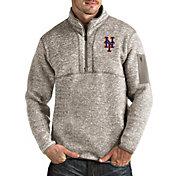 Antigua Men's New York Mets Oatmeal Fortune Half-Zip Pullover