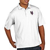 Antigua Men's New York Mets Pique White Performance Polo