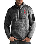 Antigua Men's Cleveland Indians Fortune Black Half-Zip Pullover