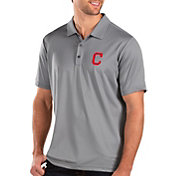 Antigua Men's Cleveland Indians Grey Balance Polo