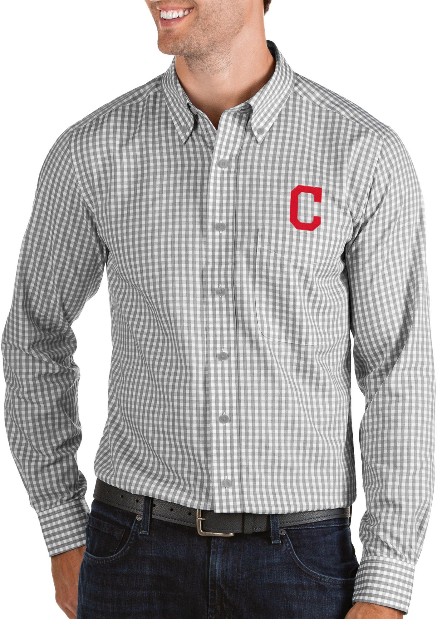 Antigua Men's Cleveland Indians Structure Button-Up Grey Long Sleeve Shirt