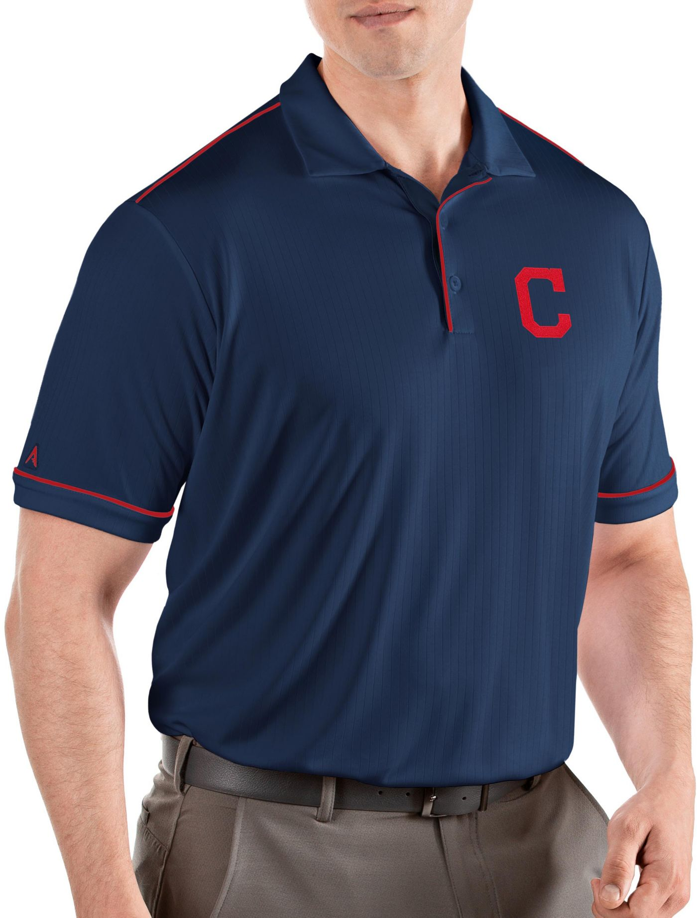 Antigua Men's Cleveland Indians Salute Navy Performance Polo