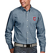 Antigua Men's Cleveland Indians Associate Button-Up Navy Long Sleeve Shirt