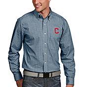 Antigua Men's Cleveland Indians Associate Navy Long Sleeve Button Down Shirt