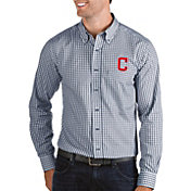 Antigua Men's Cleveland Indians Structure Button-Up Navy Long Sleeve Shirt
