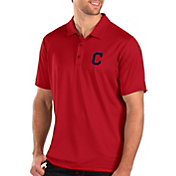 Antigua Men's Cleveland Indians Red Balance Polo