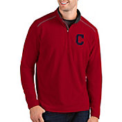 Antigua Men's Cleveland Indians Red Glacier Quarter-Zip Pullover