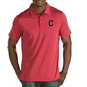 Antigua Men's Cleveland Indians Quest Red Performance Polo