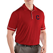 Antigua Men's Cleveland Indians Salute Red Performance Polo