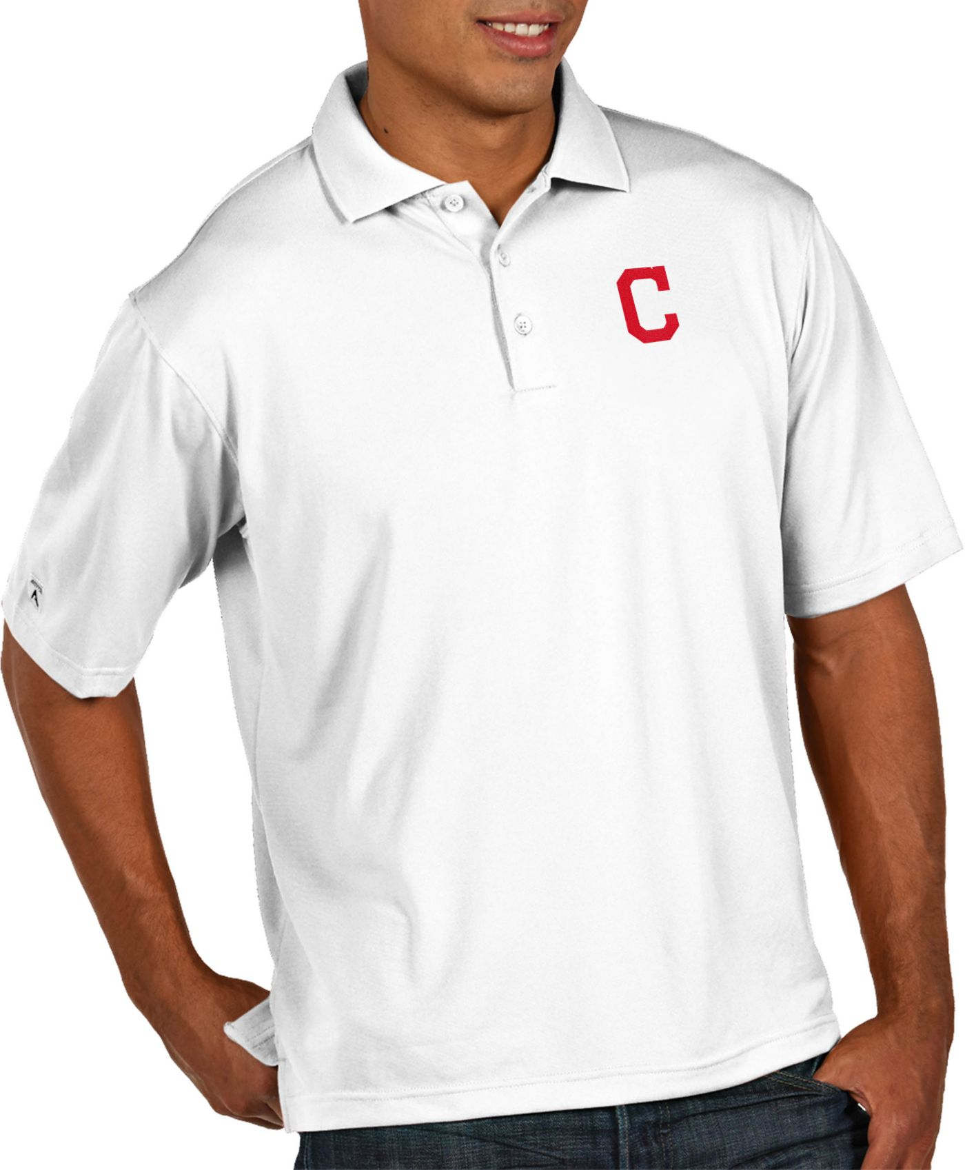 Antigua Men's Cleveland Indians Pique White Performance Polo