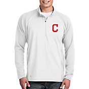 Antigua Men's Cleveland Indians White Sonar Performance Quarter-Zip Pullover