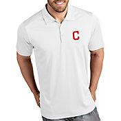 Antigua Men's Cleveland Indians Tribute White Performance  Polo