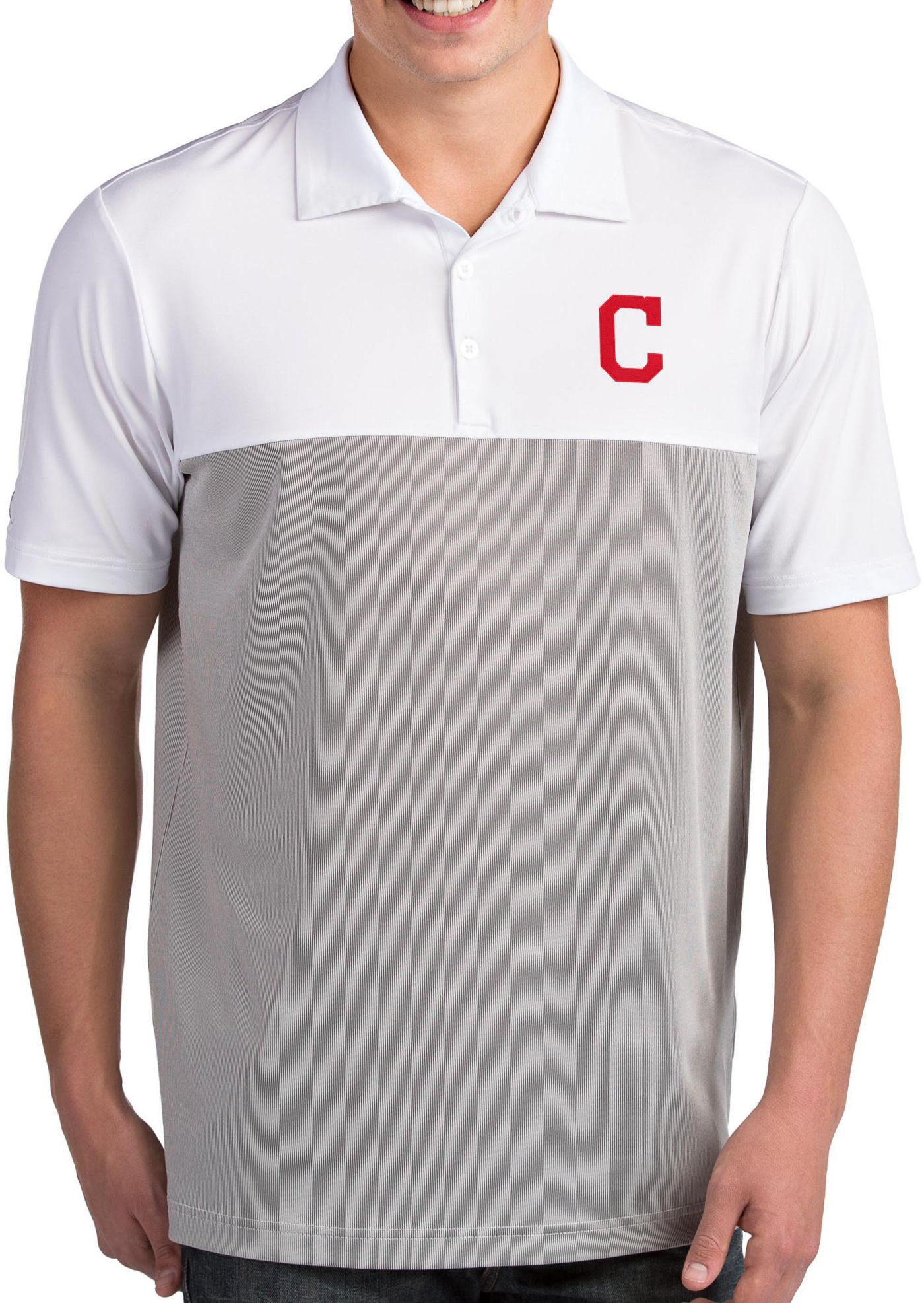 Antigua Men's Cleveland Indians Venture White Performance Polo