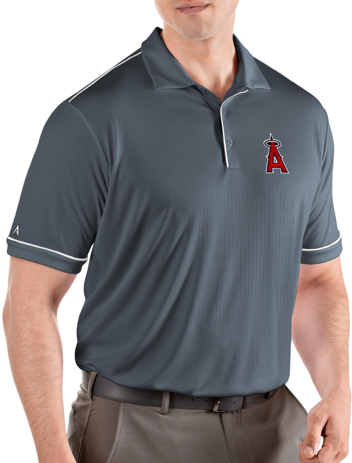 Antigua Men's Los Angeles Angels Salute Grey Performance Polo