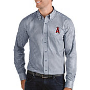 Antigua Men's Los Angeles Angels Structure Navy Long Sleeve Button Down Shirt