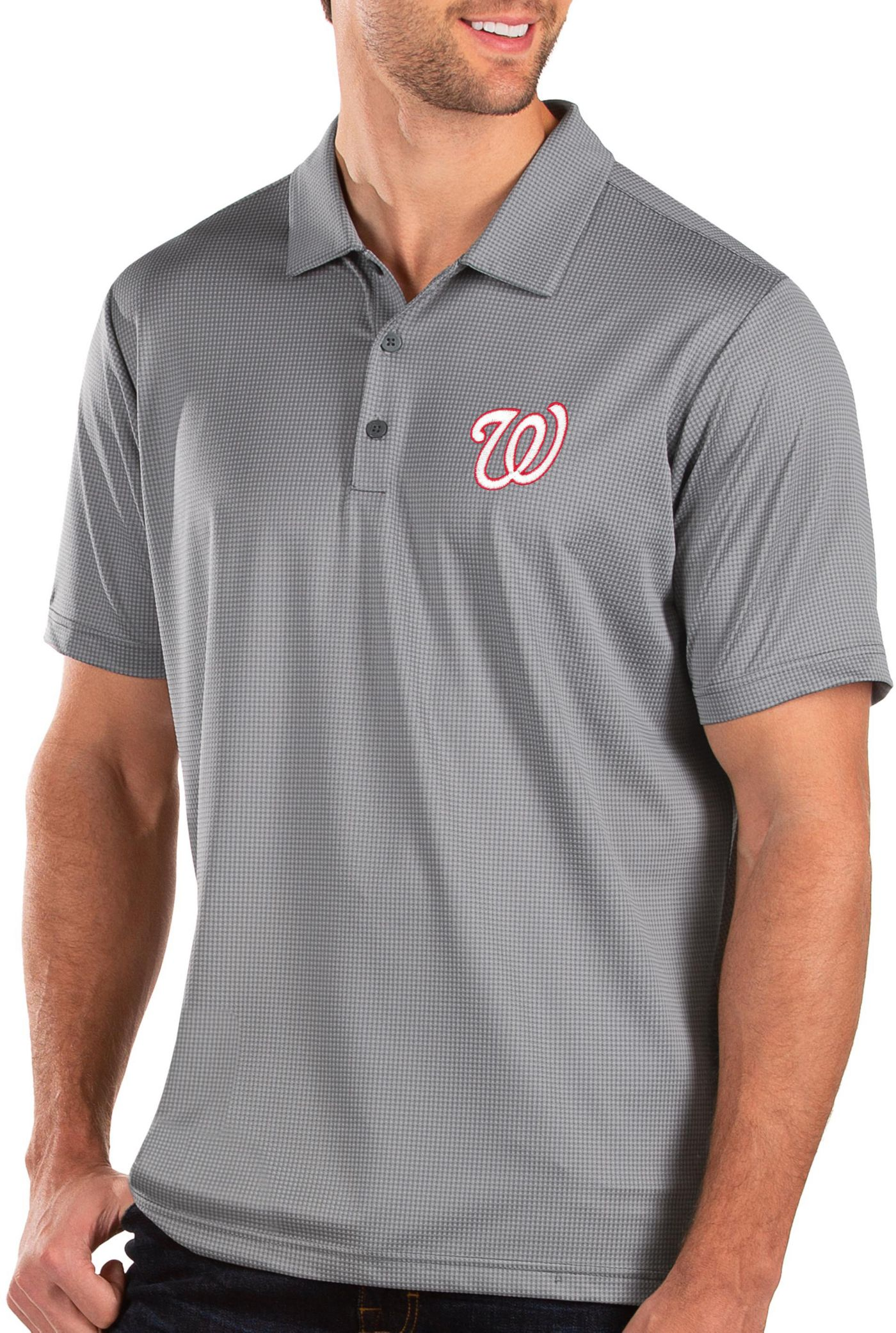 Antigua Men's Washington Nationals Grey Balance Polo