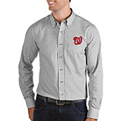Antigua Men's Washington Nationals Structure Button-Up Grey Long Sleeve Shirt