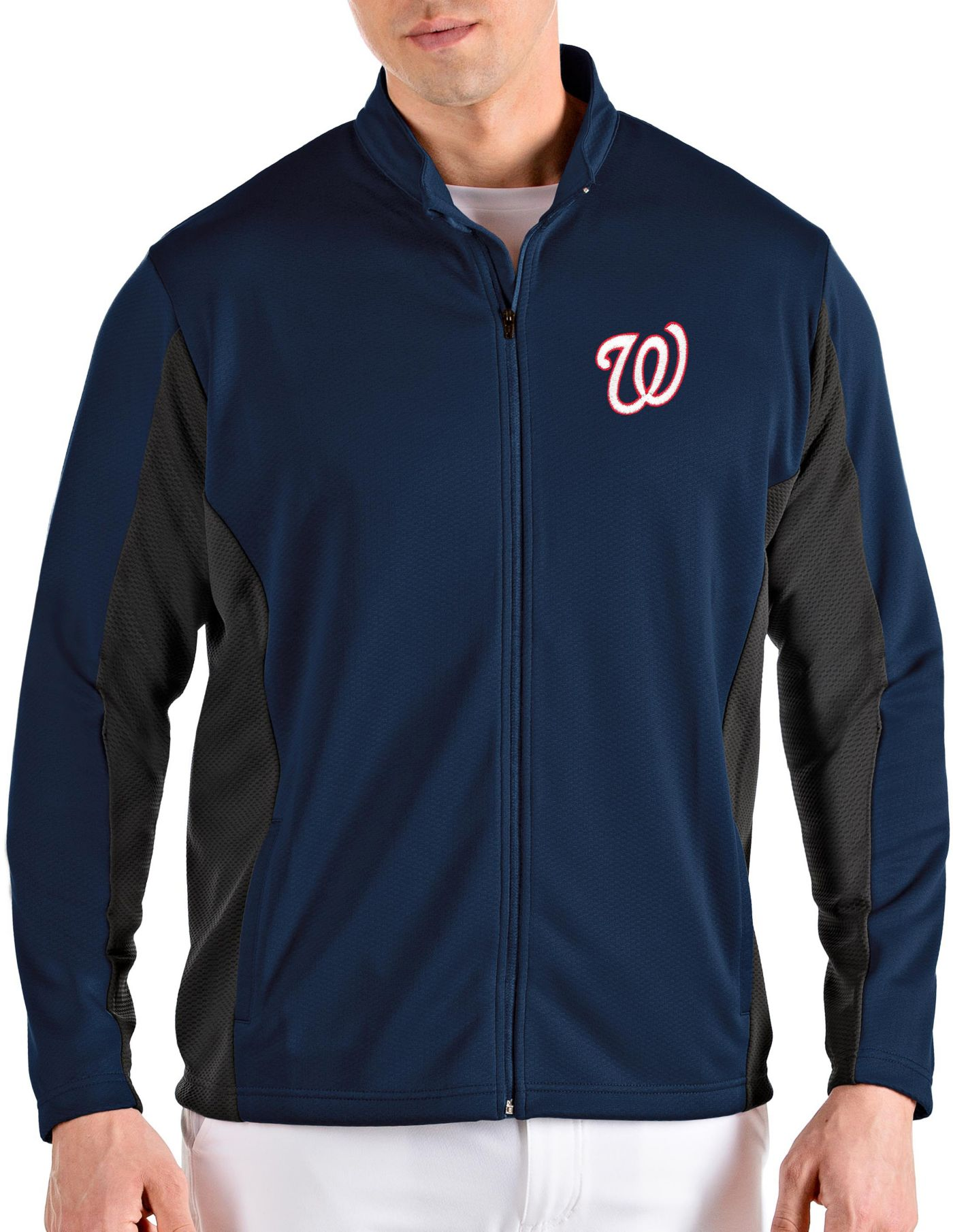 Antigua Men's Washington Nationals Navy Passage Full-Zip Jacket
