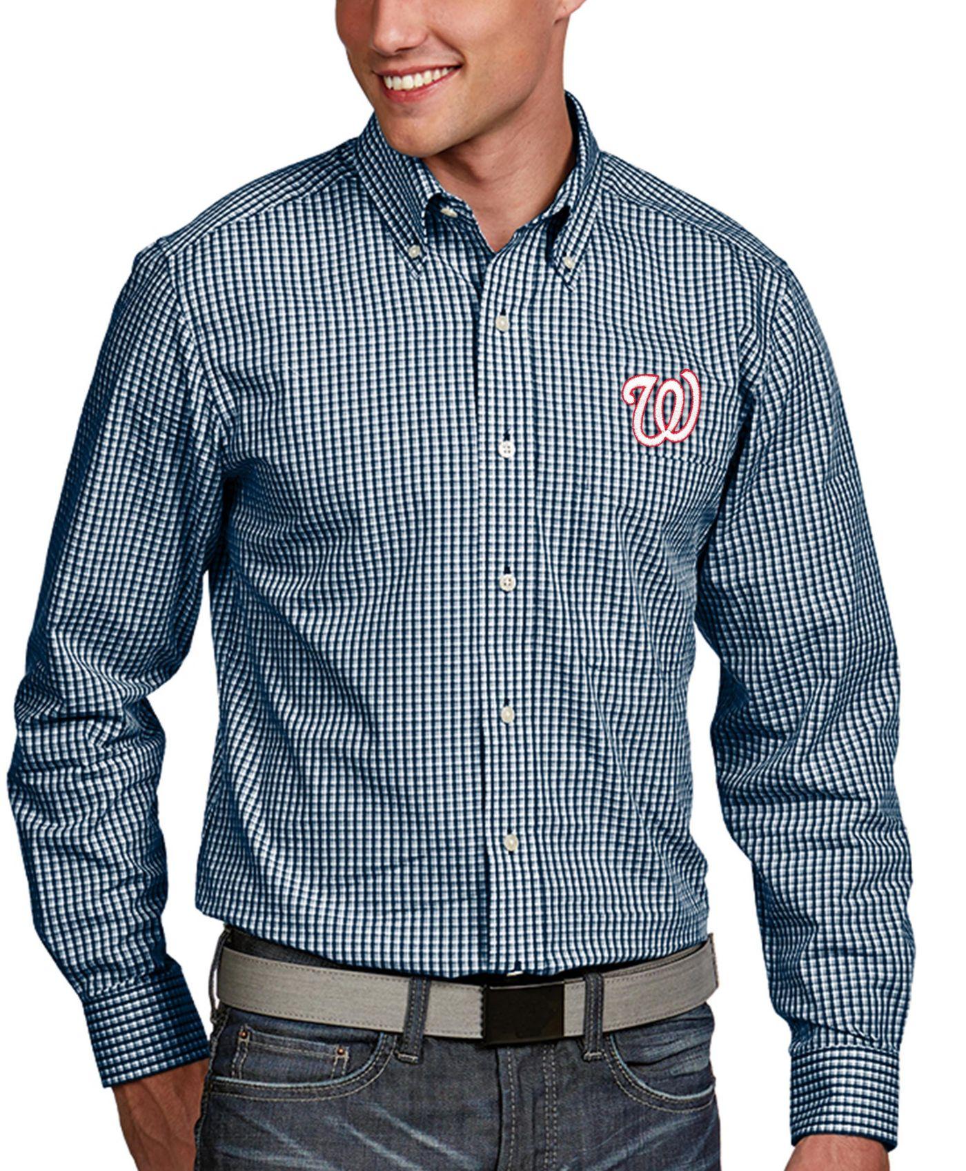 Antigua Men's Washington Nationals Associate Button-Up Navy Long Sleeve Shirt