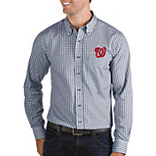 Antigua Men's Washington Nationals Structure Button-Up Navy Long Sleeve Shirt