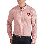 Antigua Men's Washington Nationals Structure Button-Up Red Long Sleeve Shirt